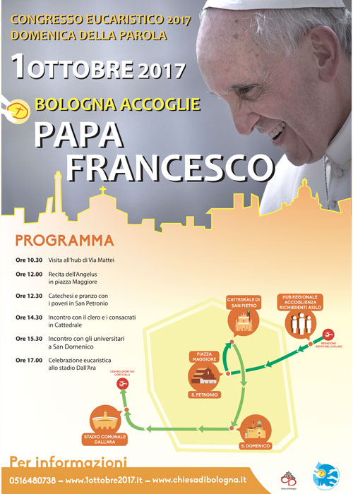 Programma visita del Papa a Bologna